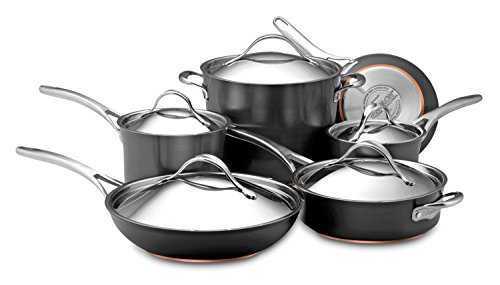 Anolon Nouvelle Copper Hard-Anodized Nonstick 11-Piece Cookware Set