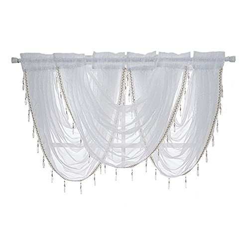 ANCLLO 3 paneles blanco sólido cascada cenefa ventana cortina de lino textura...