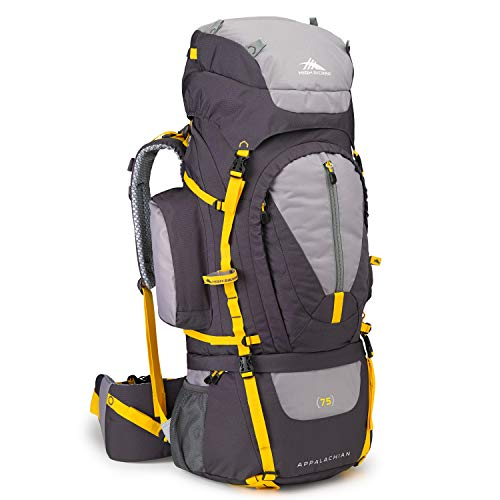 High Sierra Appalachian 75L Top Load Internal Frame Backpack; High-Performance Pack for Backpacking, Hiking, Camping, with Rain Fly, Mercury/Ash/Yell-O