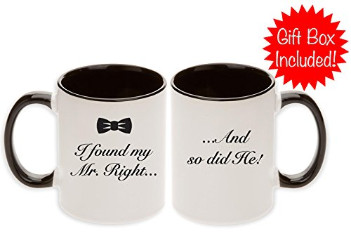 Gay Wedding Gift Pair Mugs - Unique Bow Tie I found My Mr. Right... And so did He! (Black - 2pcs)