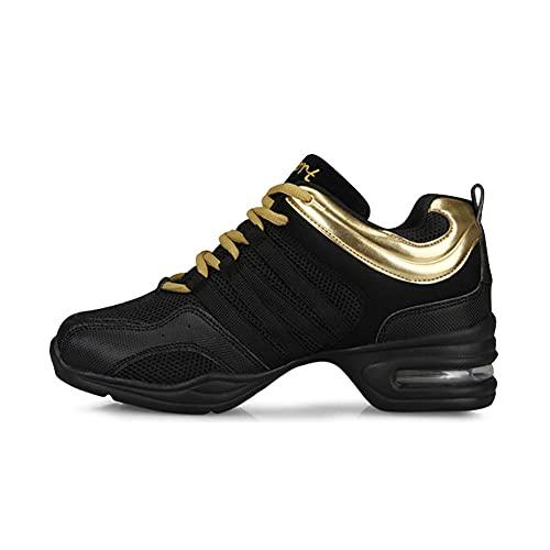 SONGJOY Zapatillas de baile para mujer, de jazz, con plataforma, modernas, de altura creciente, con cordones, deportivas, con parte inferior suave, color Negro, talla 36 EU