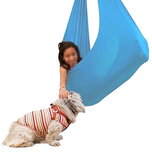 Sensory Therapy Swing Indoor For Kids With Special Needs Cuddle Hammock Children Autism ADHD Aspergers (Hardware Included) Snuggle (Color : Lake blue, Size : 150x280cm/59x110in)