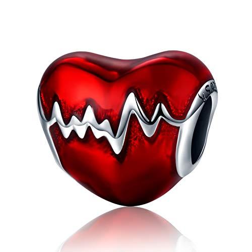 NINGAN Abalorio para colgar inspirado en los latidos de un corazón, fabricado con Plata de ley 925, compatible con pulseras y pulseras europeas