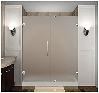 "Aston Nautis 71"" x 72"" Completely Frameless Hinged Shower Door in Frosted Glass, Brushed Stainless Steel (B01FZNLWZI) 