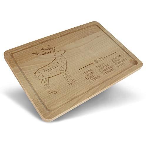 Schneidbrett für Jäger mit Saftrille aus Holz 🐗🐺🦌 | Nachhaltiges Küchenbrett für Jäger | Holzbrett mit Gravur | Jägergeschenke | Grillen Geschenk | Geschenk für Jungjäger | Grillbrett (Hirsch Cut)