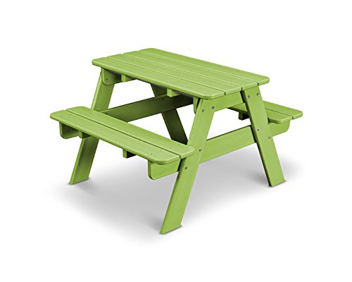 POLYWOOD Outdoor Furniture Kid Picnic Table, Lime-Recycled Plastic Materials