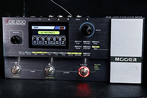 MOOER GE200 Multi Effects Pedal with Amp Modeling Bundle with 9V Power Supply, Blucoil 10-FT Straight Instrument Cable (1/4in), 2-Pack...