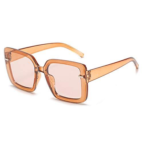 Gafas De Sol Gafas De Sol Cuadradas De Gran Tamaño Gafas De Sol para Mujer Gafas De Sol De Conducción De Diseñador De Lujo Tonos Femeninos Uv400 C3Brown