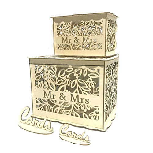 SUPVOX Scatola Porta-Carte da Sposa di Legno Rustico Scatole con Serratura Mr Ms Regalo Fai da Te Scatola per Feste di Compleanno Matrimonio Taglia S