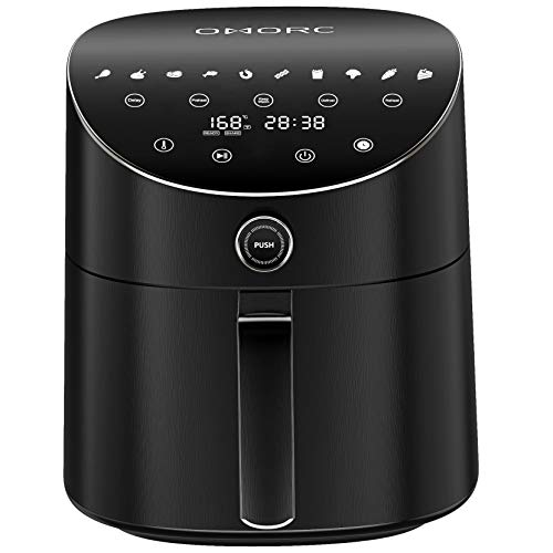 OMORC Air Fryer 1600W Powerful Electric Hot Oven 10 Preset Menus Dual Control System 6-in-1 Function