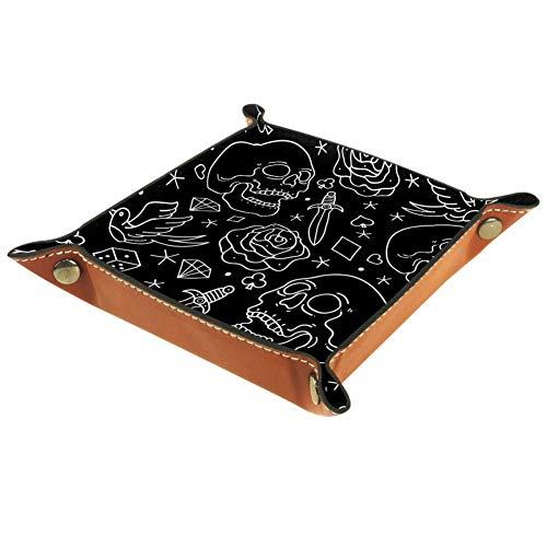 TIZORAX - Caja de almacenamiento de piel con diseño de calavera con espadas, dados y pájaros, organizador de joyas para llaves de monedas, piel sintética, multicolor, 16x16cm