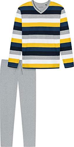Schiesser Herren-Schlafanzug Single-Jersey grau meliert/Marine/Gold Größe 54