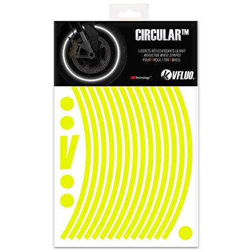 VFLUO Circular, Kit de Cintas, Rayas Retro Reflectantes para Llantas de Moto (1 Rueda), 3M Technology, Anchura Normal : 7 mm, Amarillo Fluorescente