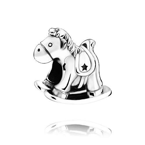 Auténtica Pandora 925 Cuenta De Plata Esterlina Diy Bruno El Unicornio Caballo Mecedora Fit Pulseras Originales Joyería De Mujer