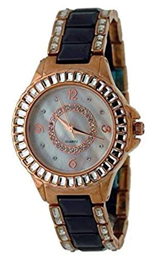 Geneva #AT5094L Women's Rose Gold Tone Crystal Black Ceramic Watch -  AT5094L-1