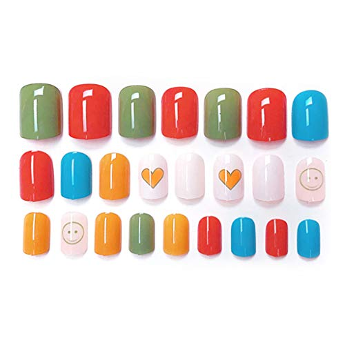 Koehope valse nagels leuke vrucht design nail sticker tattoo, kunstvingernagels valse nail tips ABS Fake Nail Art - 24 stuks 12X10CM/4,72x3,94in S58