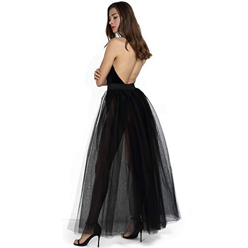 Women's 4 Layers Overlay Long Tulle Skirt Overskirt Floor Length Tutu for Wedding Party (Black)
