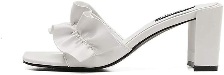 MIKA HOM Women's Toe Slip On Sueded Platform Sandal Mule Pointed Sandals