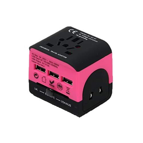 QWZ Adaptador de Viaje, Adaptador de energía Internacional Todo en uno con Doble USB, teléfonos celulares de Carga, Relojes Inteligentes, iPhones en Todo el Mundo (Color : Pink)