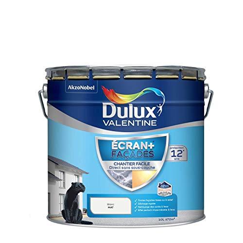 Dulux Valentine Peinture Extérieure Ecran + Façades Chantier Facile - Mat Blanc (Base White) 10L
