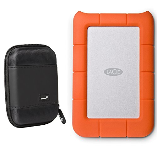 LaCie Rugged Mini USB 3.0 / USB 2.0 4TB External Hard Drive (LAC9000633) with Ivation Compact Portable Hard Drive Case