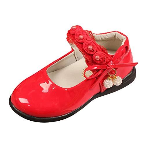 AIni Zapatos De Vestir para NiñOs Zapatos Planos Zapatos Casuales para NiñAs Zapatos con Perlas Zapatos De Princesa De Flores De Encaje Zapatos Solos De Moda Zapatos De Fiesta Rosa Blanco 26-36 EU