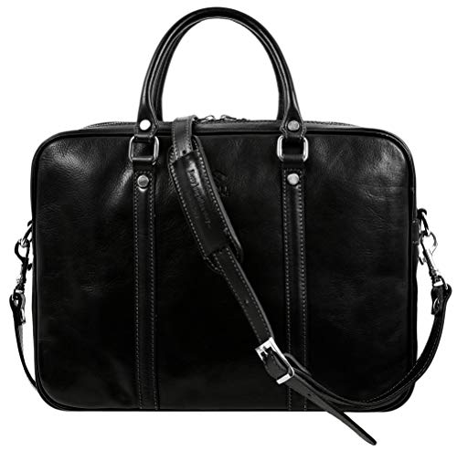Leather Briefcase Bag Slim Full Grain Leather...