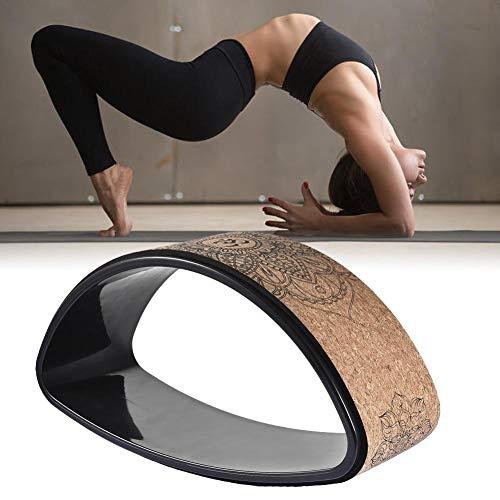 S-tubit - Rueda para Entrenamiento de Yoga, Rueda para Fitness sólida de Corcho Natural elástico con Pliegue Trasero, Rueda Robusta para Anillo de Mandala con Motivo Floral de Mandala
