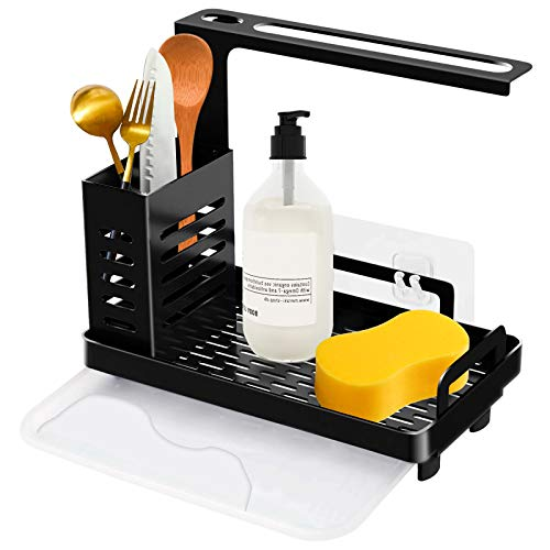 Organizador de fregadero de pared colgante para cocina baño organizador de cocina organizador de carrito, acero inoxidable, soporte para utensilios de cocina, soporte para esponja fregadero (negro)
