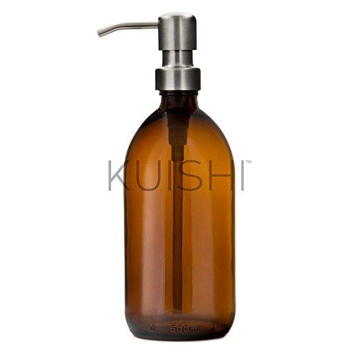 Kuishi, bottiglia dispenser di sapone in vetro color ambra marrone con pompa in acciaio inossidabile, Vetro, Silver, 500 ml