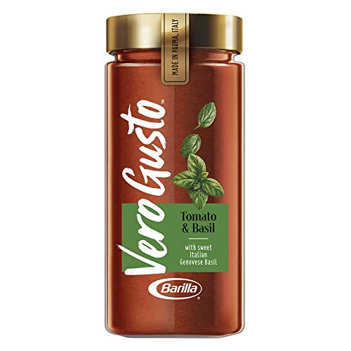 VERO GUSTO BY BARILLA Tomato & Basil Pasta Sauce, 20 oz Jar | Made in Parma, Italy | No Artificial Ingredients & No Added Sugar | Non-GMO Project Verified (Pack of 6)