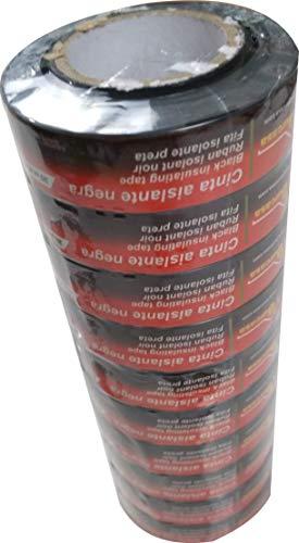 Pack 10 unidades de Cinta aislante PVC 20mx19mm. ELALMACENDELPROFESIONAL TUMAN (NEGRA)