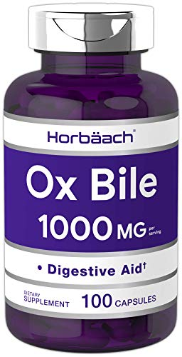 Horbaach Ox Bile 1000 mg 100 Capsules | Non-GMO & Gluten Free | Digestive Enzymes Supplement, Purified Bile Salts for Gallbladder