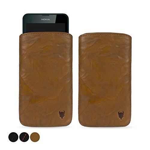 MediaDevil Nokia Lumia 630/635 Lederhülle (Cognac mit braunen Nähten) - Artisanpouch Hülle aus echtem europäischen Leder mit Ausziehlasche