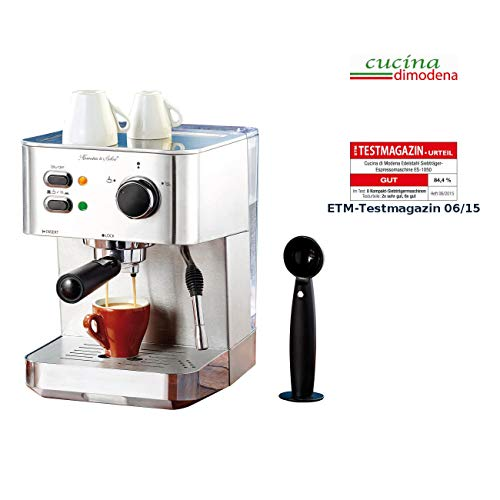 Cucina di Modena Siebträgermaschine: Edelstahl Siebträger-Espressomaschine ES-1050, 1.050 Watt, 15 bar (Siebträger Kaffeemaschine)