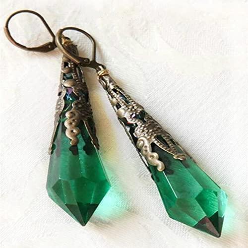 XAOQW Antiguos Pendientes de aleación Art Deco Natural Green Crystal Drop Pendientes Mejor Regalo para Novia Novia Fiesta de Bodas joyería