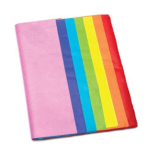 Baker Ross Hojas de Papel Seda en los Siete Colores del Arco Iris, Actividad de Manualidades Infantiles para Envolver, Crear Flores y Decorar, Multicolor, Pack de 28