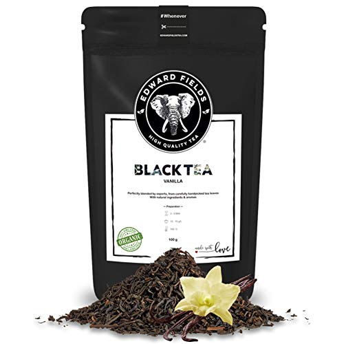 Edward Fields Tea ® - Té negro orgánico a granel con Vainilla. Té bio recolectado a mano con ingredientes y aromas naturales, 100 gramos, India.