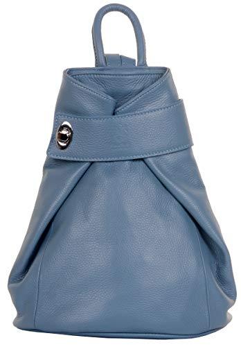 Primo Sacchi Ladies Italian Soft Textured Blue Leather Top Handle Shoulder Bag Rucksack Backpack