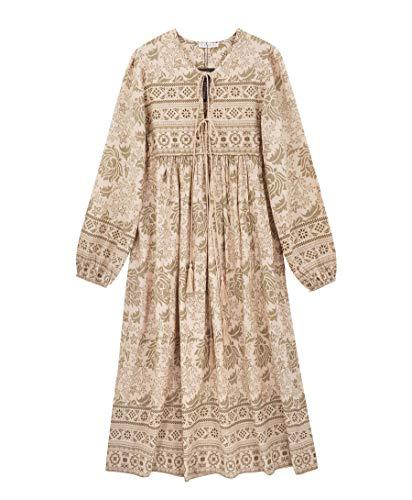R.Vivimos Women's Long Sleeve Floral Print Retro V Neck Tassel Bohemian Midi Dresses (2XL, LightKhaki)