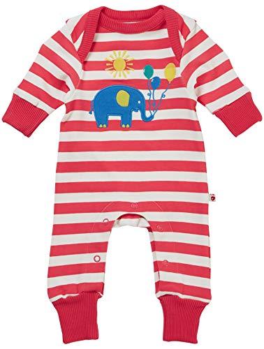 Piccalilly Grenouillère douce + organique Motif éléphant Rouge rayé Unisexe pour bébé fille + garçon - Rose - 2 mois