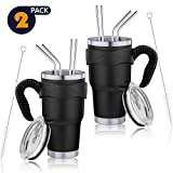 30oz Stainless Steel Tumbler, Vacuum Insulated Tumbler with Lid, Straw, Handle, Travel Mug Works Great for Ice Drink, Hot Beverage (Black, 2 Pack)