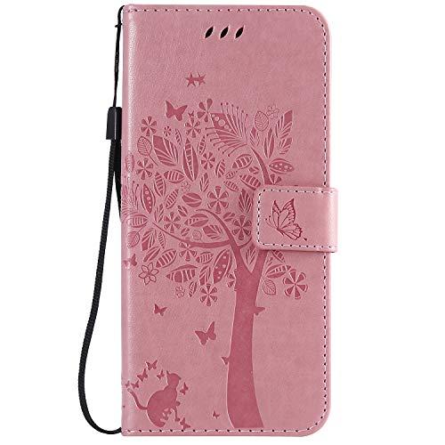 Gray Plaid Coque Huawei Mate 20 Pro, Haute Qualité Motif en Relief PU Portefeuille Cuir Flip Case Cover [Porte-Carte] [Fonction de Support] pour Huawei Mate 20 Pro - Pink