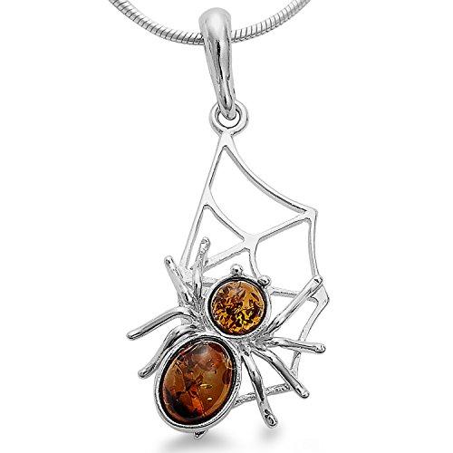 Anhänger 100% Bernstein, Spinne, Spinnennetz 925 Silber, Kettenanhänger #1648
