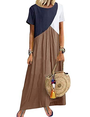 Vestido largo para mujer de Hahaema, de verano, de kaftán, con mangas caqui L