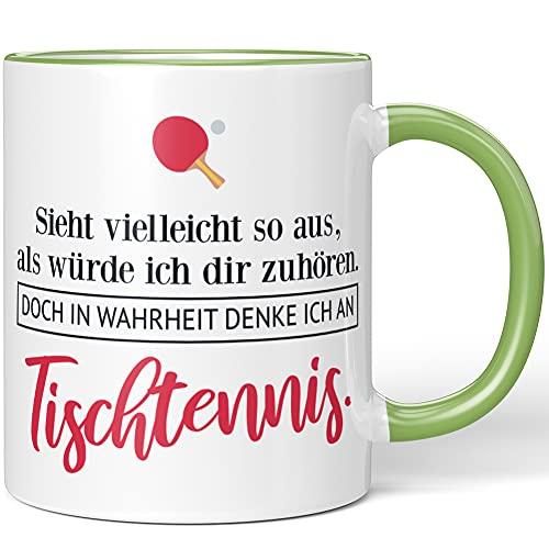 JUNIWORDS Tasse, Sieht vielleicht so aus, als würde ich dir zuhören. Doch in Wahrheit denke ich an Tischtennis (1001715), Wähle Farbe, Hellgrün