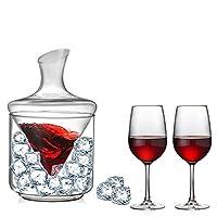 ワインデカンタセットハンドパーフェクトのホームバーやパーティーを吹か1000mlのワインデカンタでアイスバケツ鉛フリークリスタルガラス