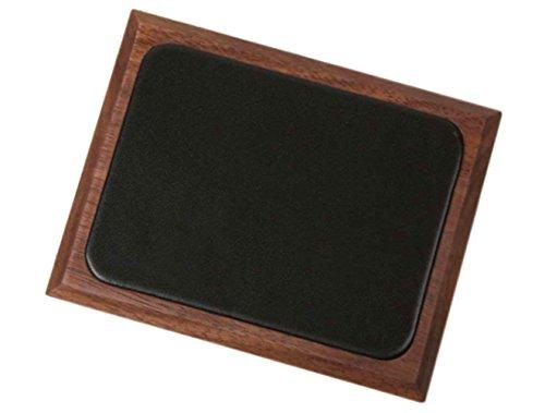 KATOMOKU 無垢材一枚板と天然皮革による贅沢捺印マット 45度面 ブラウン km-04B・ブラウン