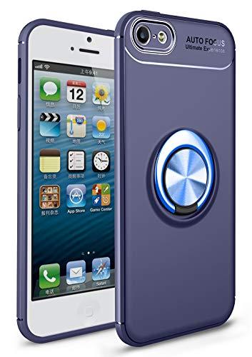 SORAKA Cover per iPhone 5/5S/SE 2016 con anello,Custodia in Silicone Morbido Cover Anti-Impronta Ultrasottile con piastra metallica per Supporto Auto Smartphone Magnetico
