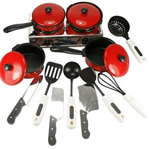 Biyi 13Stk / Set Red Geschirr Simulation Küchenutensilien Pot Löffel Kochen Spachtel Messer Pretend Play Spielzeug für Kinder (rot)